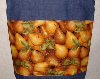 New Large Handmade Golden Pears Harvest Summer Fruit Denim Tote Bag