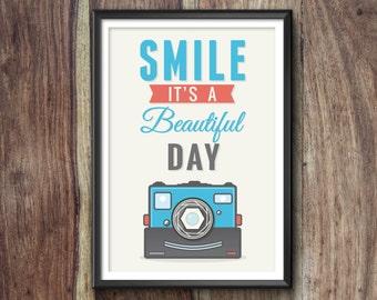 SMILE CAMERA PRINT, Camera Poster, Camera Art, Camera Gift, Camera Print, Camera Illustration, Vintage, Camera Decor, Retro, Hipster, Cool