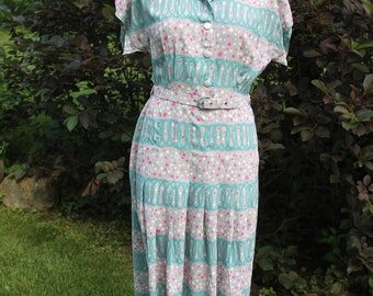 1940s Grey and Teal Dress
