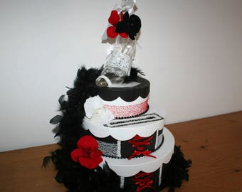 black white wedding urn and Red orchids boa paris