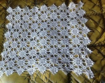 Vintage rectangular doily lace crochet