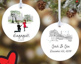 Engagement Central Park ,NYC skyline, engaged, Engaged Christmas Couple, Ornament, Custom Christmas Engagement Decorations,  Decorations