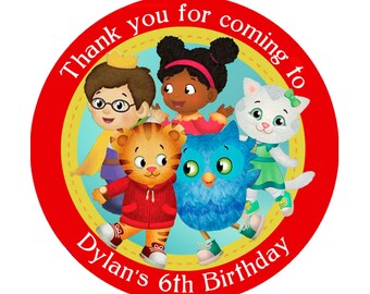 Daniel Tiger's Neighborhood Personalized Birthday round sticker / favor label