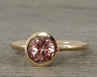 Champagne Sapphire Ring - Chatham Lab-Created Gemstone - Classic in Recycled 14k Yellow Gold - Eco-Friendly, Solitaire, Made To Order