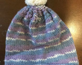 Knit Baby Hat--Purple, Blue, and White