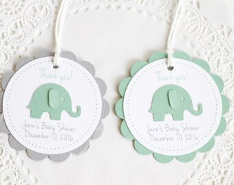 Mint Green Elephant Tags, Thank You Tags,Baby Shower Tags, Personalized Tags, Birthday Favors