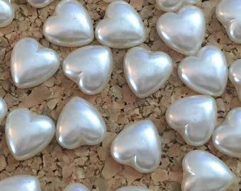 Cute Pearl Heart Thumbtacks - set of 30- dorm decor, decorative thumbtack, baby shower, wedding, bridal shower, teacher gift, hostess gift