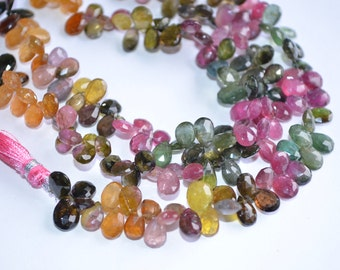 "4"" Strand 5x8-6x10mm-AA-Multi Tourmaline-Watermelon Multi Tourmaline Faceted Pear Shape Briolette Beads-34 Briolettes"