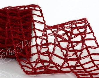 """Wired Burgundy Burlap Ribbon, 2.5"""" wide by the yard"""