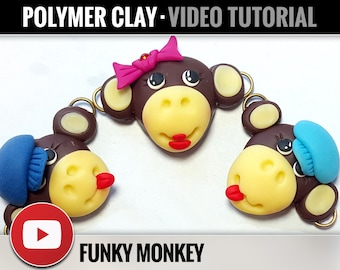 Polymer Clay Tutorial Vol.16: DIY How to make «Funky Monkey», Symbol of Year 2016, Detailed Video Master Class, Instant Access