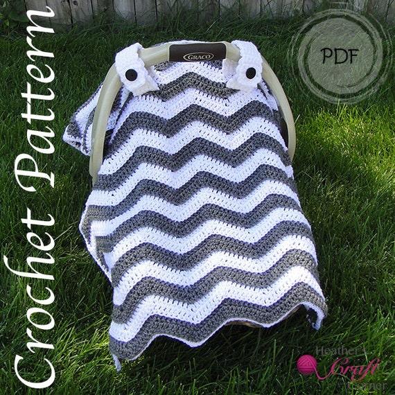 Crochet pattern chevron car seat canopy dt1010fo