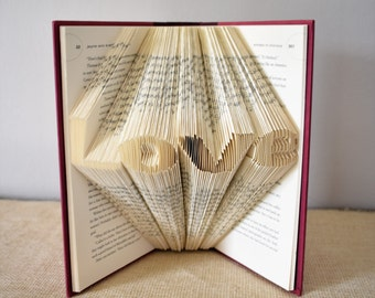 Literature Gift for the Book Lover, Folded Book Art Featuring the word Love