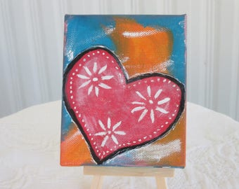 Mini Art, Mother's Day, Gift for her, Acrylic Painting, Original Art, Mini Canvas Art, Heart Art, Acrylic on Canvas, Colorful Art,