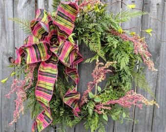Spring Summer Wreath, Wreath Wild Spring and Summer, Pink Berry Wreath for Door or Mantle, Door wreath Pink Berry Stems, Etsy Wreath