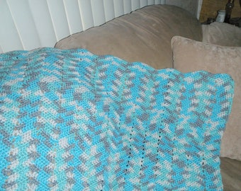 Aqua and grey Afghan