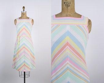 70s Rainbow Chevron Dress / Mod Dress / Pastel Dress / 1970s Dress / Size S/M