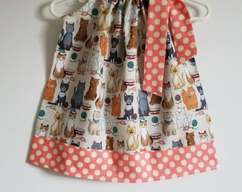 Pillowcase Dress with Cats Girls Dresses Kitty Cat Dress with Kittens Cat Lovers Animal Dresses Love Your Pets Day Dress with Kitties