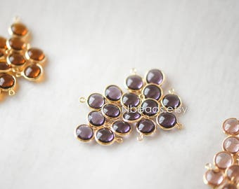 10pcs Gold Framed Crystal Coin Charms 9mm, Gold plated Brass Mini Charms, Purple Amber Pink (GB-130)