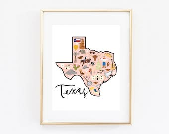 Illustrated Texas Map Art Print
