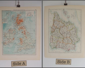 Map Of the British Isles (physical) & Spain and Portugal Vintage 1904