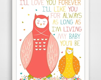 Kids Wall Art / Nursery Decor / Kids Room I'll Love You Forever QUOTE  print by Finny and Zook