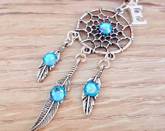 Dreamcatcher Turquoise Silver Initial Keyring Bag Charm, Bag Accessories, Dreamcatcher Key Chain, Feather Key Ring, Boho Dreamcatcher