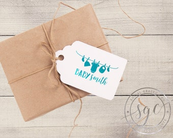 Clothesline Baby Shower | Customizable Letterpress Foil Gift Tags | social graces and co.
