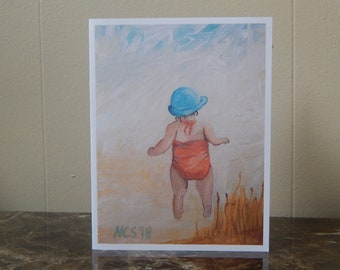 Set of 4 cards,  baby girl at beach, card from acrylic painting, note cards with envelopes