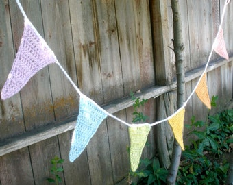 Crochet Pennant Garland or Bunting - Pastel Colors