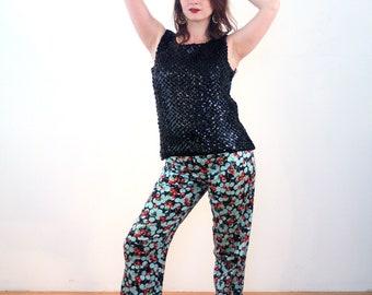 90s Cherry Print Pants 32 L, Fruit Print Pants, Cherry Jeans, Stretch Jeans, Retro Cherries Rockabilly Trousers, Waist 32, Inseam 29, Large