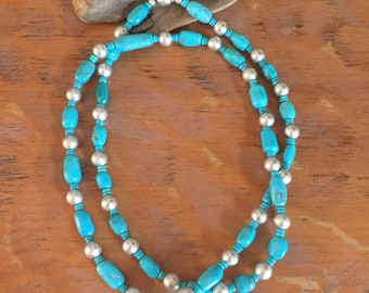 TN50 Kingman Turquoise and Satin Sterling Silver Beads Southwestern Native Style Pendant or Charm