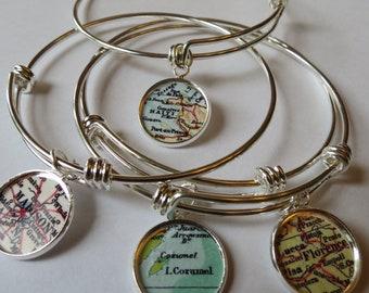 Custom Map Bracelet, Graduation Bracelet, Cozumel Map charm Bracelet, Haiti Gift for her, Graduation Gift, Custom College Gift, Stanford