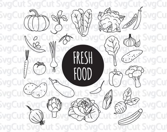 Fresh Food Clip Art, Food monograms,  Nutritional Clipart, Fruits and Vegetables Printable, Dairy Clip Art, Digital Art, Silhouettes SVG,
