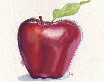 Red Apple Watercolor Painting Print - Small Apple Fruit Still Life Original Watercolor Art - 5x7 Print