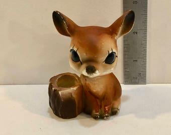 Vintage Small Deer Planter, Toothpick Holder, Big eye Deer, 3 inches tall, ceramic Deer Figurine, Md Century Planter, Kitchen Decor, 1950s