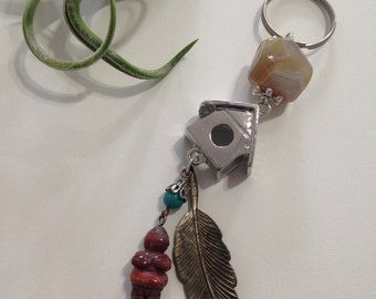 Mighty Fierce Charm with Birdhouse, Botswana Agate, Red Jasper Venus, and Turquoise Drop