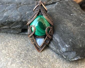 Malachite Pendant - Wire Wrapped Pendant - Heady Wire Wrap - Wire Wrap - Copper Pendant - Malachite in Copper - Sweet Water Silver