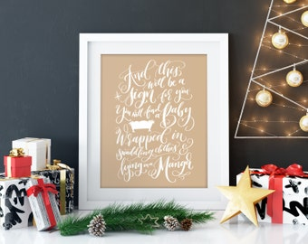 Christmas bible verse, Calligraphy christmas, christmas art print, christmas canvas Christmas decoration Holiday decor hand lettered print