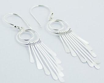Long Sterling Silver Chandelier Earrings
