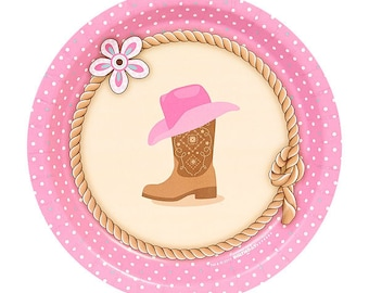 My Sweet Pink Cowgirl Dessert Plates / cowgirl theme / western girl party / cowgirl dessert plates/ pink cowgirl plates