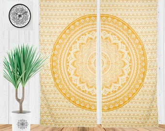 Boho Curtains For Living Room, Bohemian Window Treatment, Hippie Tapestry, Yoga Studio Decor in Gold