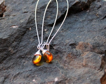 Amber teardrop earrings. sterling silver gothic wire wrapped earrings FREE domestic SHIPPING  amber earrings