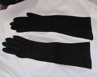 "Fownes Royale Gloves - Vintage Black Cotton Gloves 14"" Long Size 6.5 Small (012A)"
