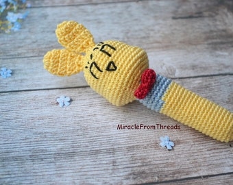 Bunny rattle, Baby Rabbit toy, Bunny teether, Baby first toy, Easter bunny, Waldorf toy,Primitive teething toy,Baby shower gift,Newborn gift