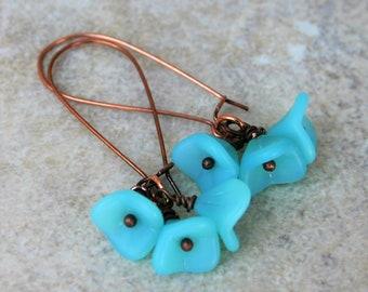 Aqua Bell Flower and Copper Earrings,  Blue Glass Flower Earrings