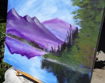 Painted Landscape Mountain Range, Purple Mountain painting, Landscape painting with lake and evergreens, 28 x 22 landscape canvas