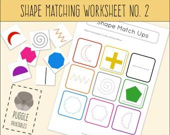 Printable Shape Matching Worksheet No. 2 Busy Bag DOWNLOAD