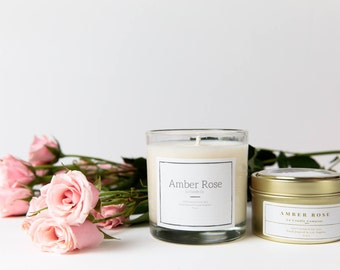 Amber Rose Scented Soy Wax Candle | Minimalistic glass jars 9 oz | Rustic Gold Tin 6 oz | Homemade | Luxury Candle | Interior Decor