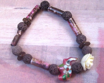 Cloisonné Pink Elephant Beaded Stretch Bracelet with Rose and Brown Lava Beads