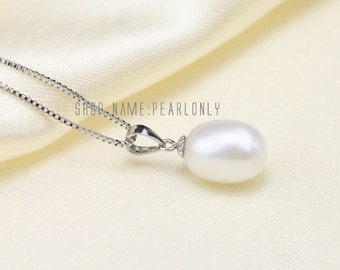drop pearl pendant,9-9.5mm freshwater pearl drop pendant, ivory white tear drop pearl pendant,sterling silver pearl pendant PD015